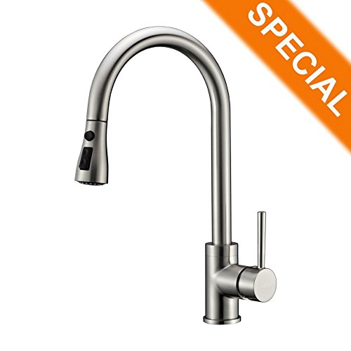 Refin Pause Function Kitchen Sink Faucet 2 Mode Pre-rinse Pull Out Solid Brass Brushed Nickel Single Handle Kitchen Faucet