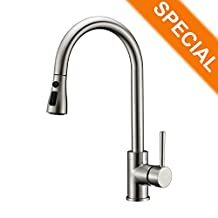 Kitchen Sink Faucet Brushed Nickel with Pull Down Spout Delle Rosa Pause Function 2 Mode Pre-rinse Pull Out Solid Brass Single Handle Kitchen Faucet