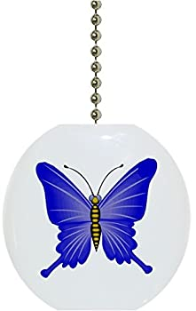 Carolina Hardware and Decor 1078F Blue Butterfly Ceramic Fan Pull