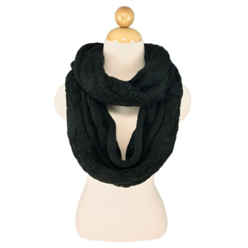 TrendsBlue Premium Winter Thick Infinity Twist Cable Knit Scarf, Black