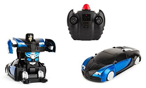 Optimus Prime Transforming Costumes (Wall-Climbing Fast Electric RC Toys Autobots Blue Transformable Robot Cars + Remote Control - The Perfect Gift For Kids! Drives On The Wall, Ceiling and Floor)