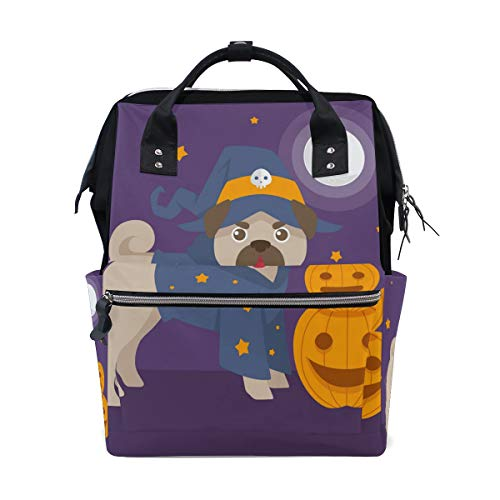 (LALATOP Funny Pug with Halloween Costume Printing Diaper Bag Backpack Travel Mummy Nappy Bags, Large Capacity and Multi-Function Stylish and Durable Nursing)