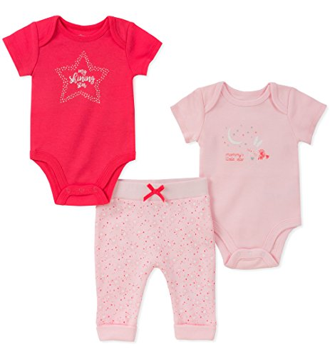 absorba Baby Girls Creeper Pant Set, hot Pink, 3-6 Months