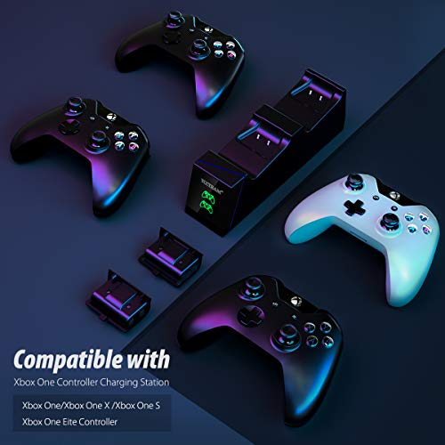 Xbox One Controller Charger,YCCTEAM Xbox One Battery Pack Rechargeable for Xbox One, Xbox One X, Xbox One S, Xbox One Elite Controller, Xbox One Charging Station with 2pcs 1200mAh Rechargeable Battery 8