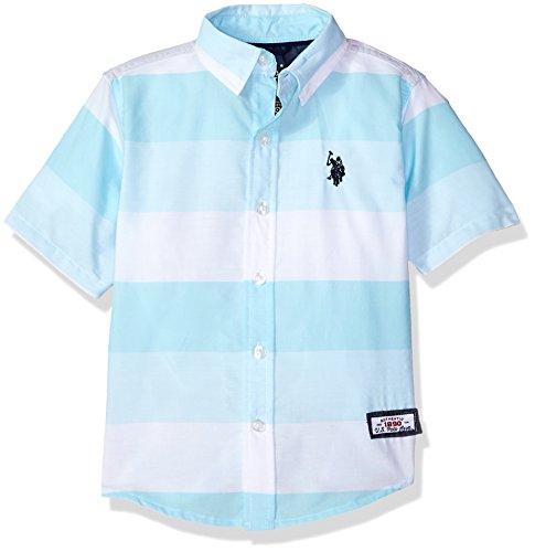 4t Polo Shirt - U.S. Polo Assn.. Toddler Boys' Short Sleeve Striped Sport Shirt, White Stripes Evian Blue, 4T