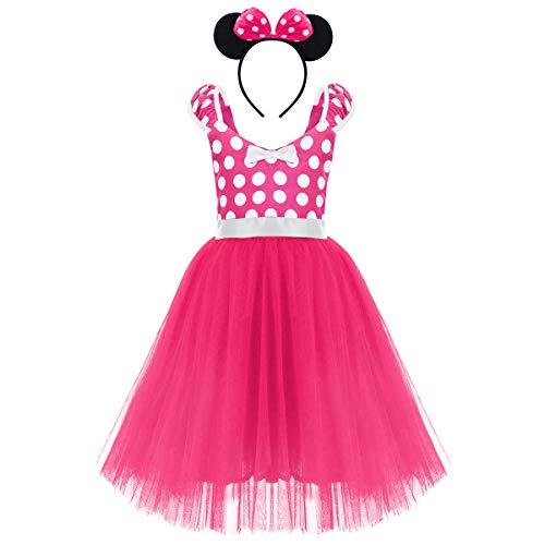 (Minnie Cartoon Costume Baby Girl Tutu Dress Polka Dot First Birthday My 1st Christmas Outfit Halloween Fancy Dress Up Princess Dresses Rose Pink with Headband (Backless - Long) 5-6)