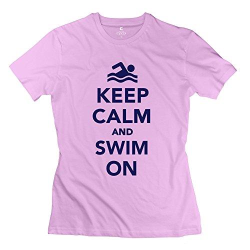 WXMY Women's 100% Cotton Keep Calm Swim T-shirt L