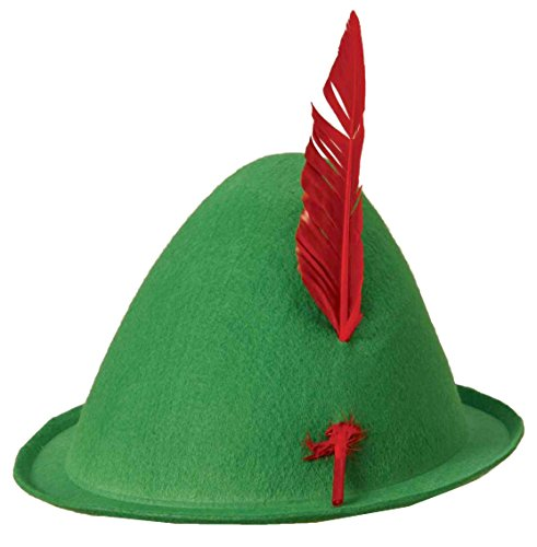 Forum Novelties Men's Alpine Hat with Feather, Green/Red, One Size ()
