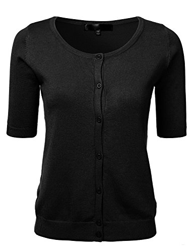 Womens Button Down Fitted Short Sleeve Fine Knit Top Cardigan Sweater Black L