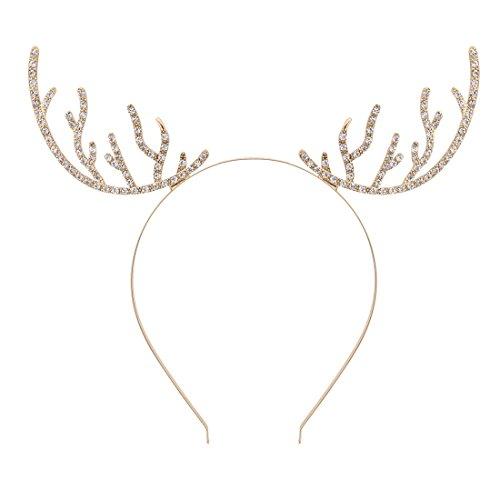 VOGUEKNOCK Christmas Headband Reindeer Antlers Crystal Paved Delicate Metal Headband Gold]()