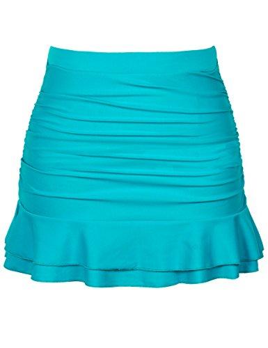 Firpearl Women's Ruched Swimsuit Bikini Tankini Bottom Ruffle Swim Skirt US12 Turquoise