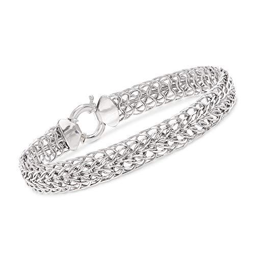 Ross-Simons 14kt White Gold Double Flat-Wheat Link Bracelet ()
