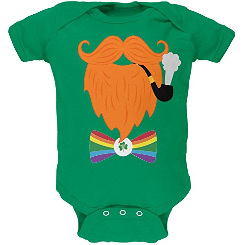 (Old Glory Halloween Leprechaun Costume Rainbow Bow Tie Soft Baby One Piece Kelly Green 24)