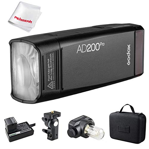 GODOX AD200Pro Godox AD200 PRO Version, 200Ws 2.4G Flash Strobe, 1/8000 HSS, 500 Full Power Flashes, 0.01-1.8s Recycling, 2900mAh Battery, Bare Bulb/Speedlite Fresnel Flash Head, Lightweight Compact ()