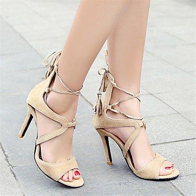 LvYuan Tacón Stiletto-Innovador Zapatos del club-Sandalias-Oficina y Trabajo Vestido Informal-Terciopelo-Negro Rojo Almendra almond