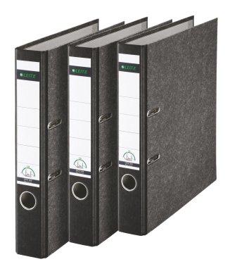 Leitz 310315095 Qualitäts-Ordner 180A mit Schlitzen A4 Schmal, 3 Stück, schwarz
