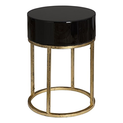 Uttermost Metal Pedestal (Unusual Elegant Round Gold Iron Pedestal Table | Cage Metal Frame Black Glass)
