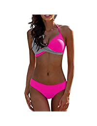 COME2LOOK Women's Sexy Solid Halter Padded Push Up Bikini Set Two Pieces Swimsuit Swimwear Bathing Suit