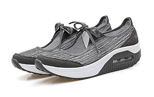 Aitaobao Sneaker Sneakers Adelgazar Transpirable Plataforma Caminar Gris Fitness Cuña Deporte Mujer Zapatos Mesh rPwrS0