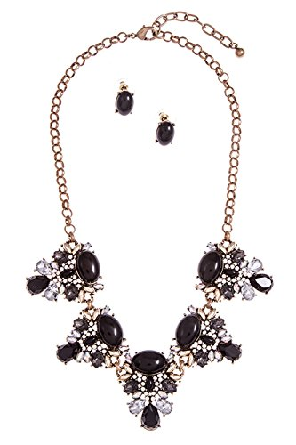 GlitZ Finery ACRYLIC FRAMED DETAILED GEM ACCENT NECKLACE SET (Black)