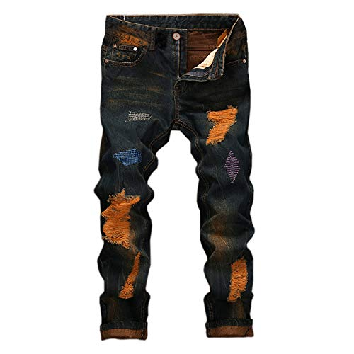 Color Mixed Vintage Wear Folding Blu Men's Basic Hole Pants Warm Denim Comfortable Pulling Washing Print Sweatpants Fashion Yunyoud Zipper Jeans Work Cool 5xXqFPFY