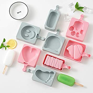 Eiscreme Eiscreme 4 St/ück wiederverwendbar leicht zu reinigen BPA-frei MHOYI Silikon-Eisformen f/ür EIS am Stiel Rose Spa/ß f/ür Kinder und Erwachsene