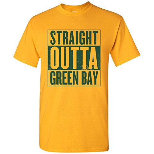 - Straight Outta Green Bay Football Mens T-Shirt - 2X-Large - Gold