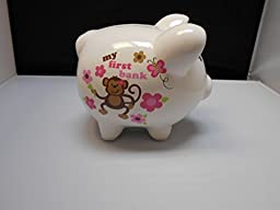 Tender Kisses My First Piggy Bank White with Monkey and Flowers