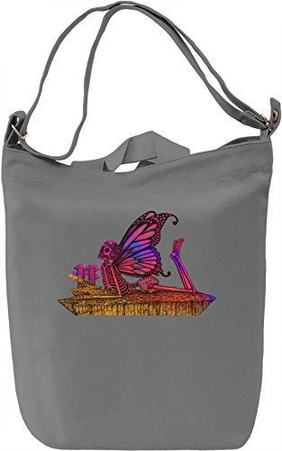 Butterfly Skull Borsa Giornaliera Canvas Canvas Day Bag| 100% Premium Cotton Canvas| DTG Printing|