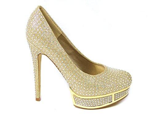 SKO'S Womens Ladies Low Mid Heel Pumps Concealed Platform Work Formal Court Shoes Size Gold (61103) 9XbMEJ