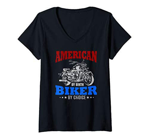 Womens American By Birth Biker By Choice Quote Motorcycle Gift USA V-Neck T-Shirt