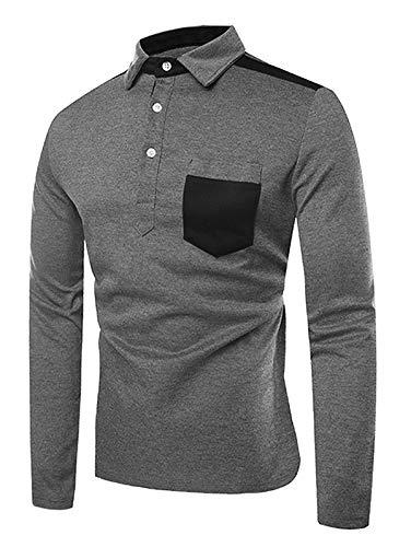 6c332691 Amazon.com: EbuyChX Frontal Pocket Color Block Long Sleeves T Shirt Dark  Gray M: Clothing