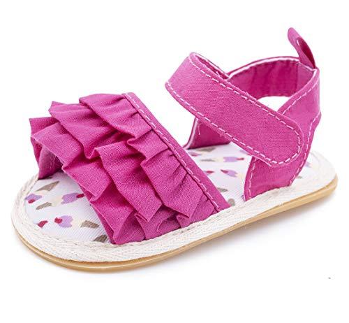 Mybbay Infant Baby Girls Sandals Rubber Soft Sole Summer Sweet Princess Dress Bowknot First Walker Shoes (3-6 Months Infant, A05-rose)