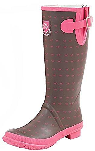Sherwood Melbury Damen Pferd Print Gummistiefel–Schokolade/Pink