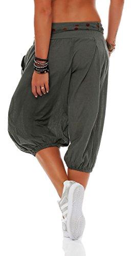Boyfriend Unica Yoga Pantaloni Cintura Taglia Baggy 3416 Pantaloni Pump Aladin con breve Oliva Sbuffo malito Donna v6XTwqRxq
