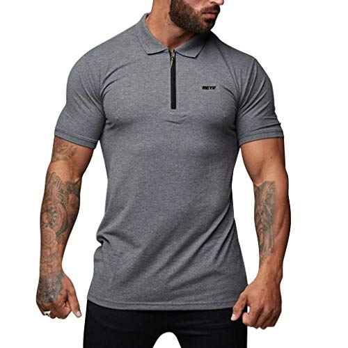 JustWin Men's Sports Fitness Stand Collar Top Summer Fashion Sports Cotton Zipper Elegant Blouse Top Gray