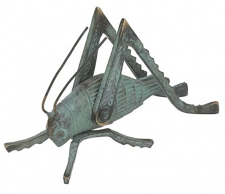 GSM Solid Brass Cricket with a Verdigris Finish ~ Fireplace Crickets on the Hearth