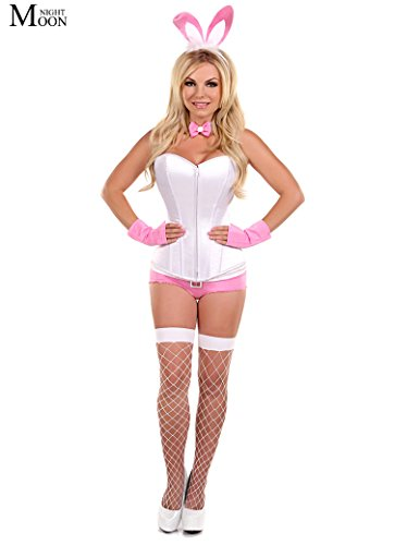 (BranXin TM Rabbit Uniform Cosplay Adult Role Play White/Pink Easter Bunny Costume Halloween Costumes For Women Sexy)