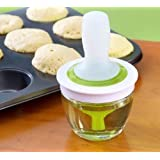 Zonku Kitchen Silicone Oil Bottle Brush Dispenser Glass Bowl Container and Silicone Pastry Brush Set for Cooking, BBQ, Baking and Grilling (Green)