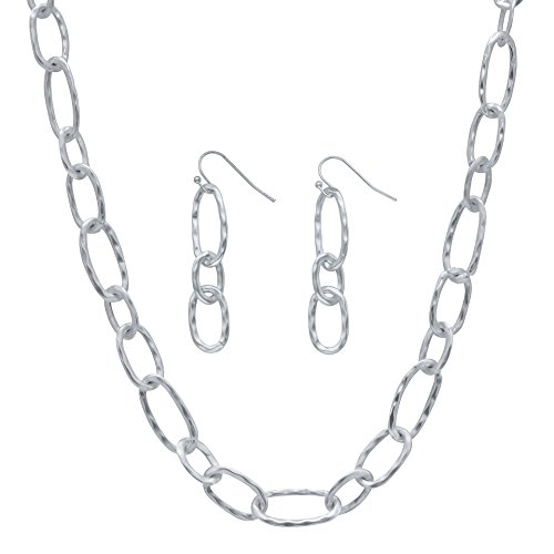Hammered Oval Ring Necklace (Silvertone Hammered Oval Link 2 Piece Necklace and Drop Earrings Set 32