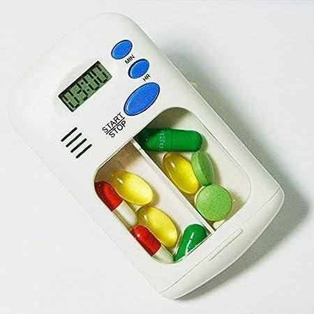 Organizador de píldoras, caja de la píldora, caja, temporizador de alarma de un día, dispensador de almacenamiento de medicamentos a prueba de humedad, vitaminas aptas, aceite de pescado, suplementos: Amazon.es: Hogar