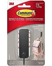 Command Matte Black Hook, Medium, 1 Hook 2 Strips
