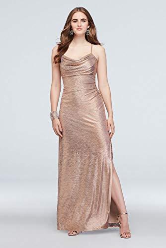 - David's Bridal Metallic Cowl Neck Sheath Dress with Ruching Style 21793, Rose Gold, 16