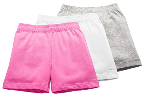 Price comparison product image Big Girls Comfortable Cotton Playground Shorts, 3-Pack Pink/White/Gray, Size 3