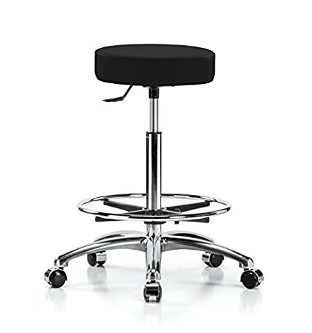 Perch Single Lever Adjustable Rolling Backless Swivel Stool in Chrome with Footring for Office Salon Home Garage or Work Shop 24