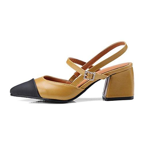 punta sandalias el tamaño Baotou tacón femenino con la yellow de Espesor de gBXzHz