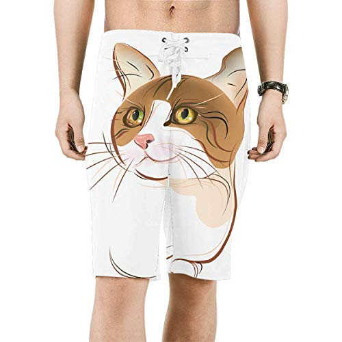 (INTERESTPRINT Men's Board Water Shorts Tabby Cat Portrait Quick Dry Swim Trunks 2XL)
