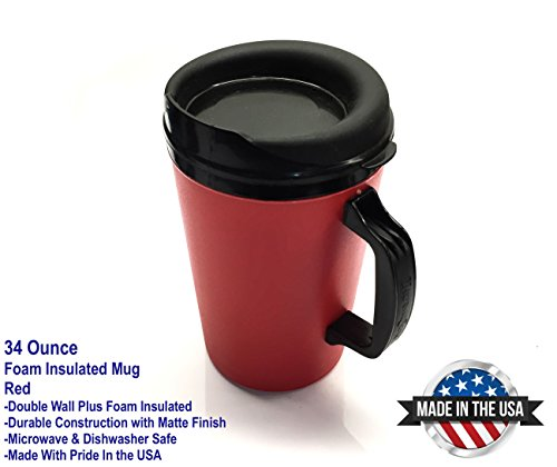 34 Oz Thermoserv Foam Insulated Coffee Mug- Red