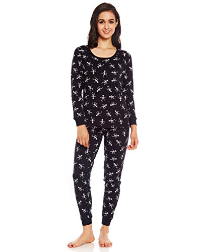 (Women 2 Piece Pajama Black Skeleton)