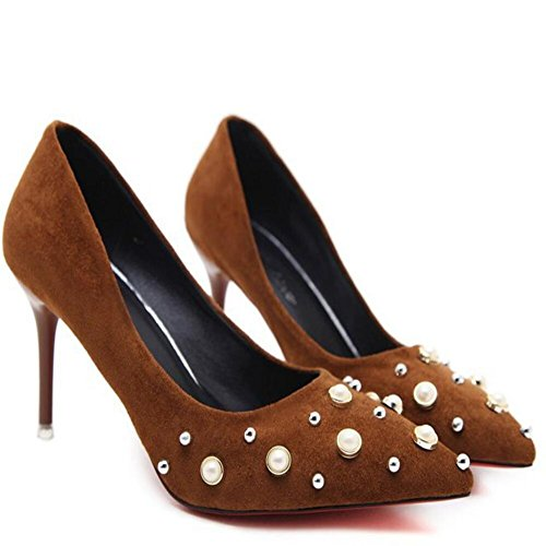 High Brown Daily Stiletto Pearl Brown Office Suede GAOLIXIA Black Heels Heels Women's Party w5C6Aqp